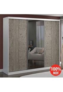 Guarda Roupa 3 Portas C 1 Espelho 100% Mdf 7318E1 Branco/Demolição - Foscarini