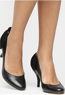 Scarpin Couro Shoestock Salto Médio - Feminino-Preto