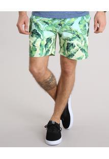 Bermuda Masculina Estampada De Folhagem Com Bolsos Verde Claro