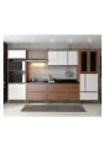 Cozinha Compacta Calábria Aéreos, Paneleiro, Balcões Com Pés Nogueira/ Branco
