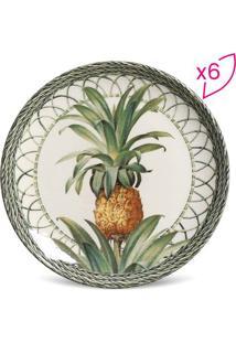 Jogo De Pratos Para Sobremesa Coup Pineapple- Branco & Vporto Brasil