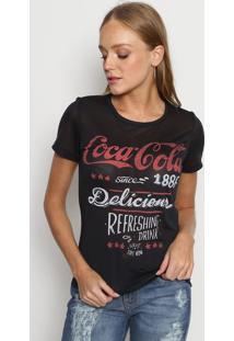 "Camiseta ""Coca Cola® Delicious"" - Preta & Vermelha -Coca-Cola"