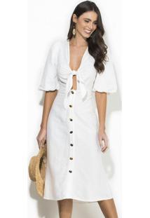 Vestido Midi Linho Off White