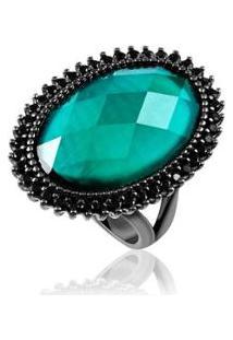 Anel Oval Esmeralda Black - Feminino-Verde