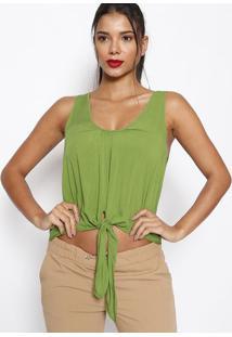 Blusa Lisa Com Amarração- Verde- Sommersommer