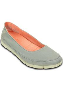 Sapatilha Stretch Sole Flat- Azul Claro & Off Whitecrocs