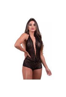Body Sensual Com Decote Todo Em Renda Preto Diário Íntimo