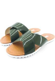 Rasteirinha Quality Shoes 008 Verniz Verde Musgo