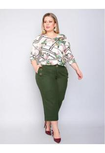 Calça Palank Plus Size Pantacourt Partiu Feminina - Feminino-Verde