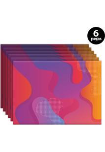 Jogo Americano Mdecore Abstrato 40X28Cm Rosa 6Pçs