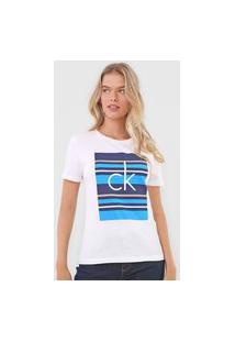 Blusa Calvin Klein Listras Branca