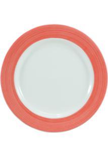 Prato Para Sobremesa Porcelana Schmidt - Dec. Cilíndrica Pintura À Mão Laranja