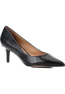 Scarpin Couro Shoestock Salto Baixo - Feminino-Preto