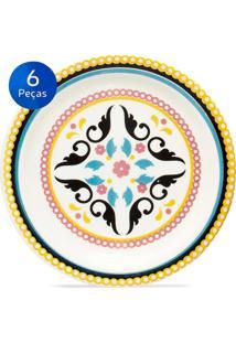 Conjunto De Pratos Para Sobremesa 6 Peças Floreal Luiza - Oxford - Multicolorido
