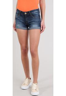 Short Jeans Feminino Reto Com Barra Dobrada Azul Escuro