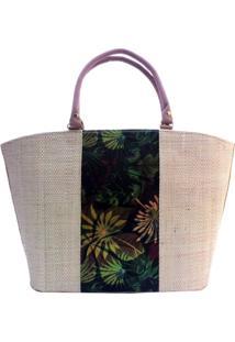 Bolsa Em Palha Grande Artestore Com Estampa Frontal Natureza Floral