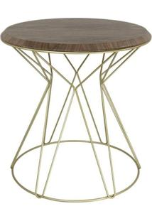 Mesa Lateral Cost Nogueira Base Gold 69Cm - 60267 - Sun House