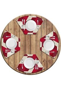 Jogo Americano Love Decor Para Mesa Redonda Wevans Red Geometric Kit Com 4 Pçs