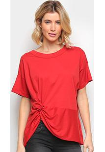Camiseta Colcci Básica Assimétrica Feminina - Feminino-Vermelho