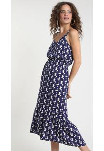 Vestido Feminino Midi Estampado De Margaridas Com Recorte E Botões Alça Fina Azul Marinho