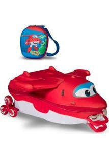 Mochila Escolar 3D Com Rodinhas E Lancheira Maxtoy Super Wings Jett - Unissex-Vermelho