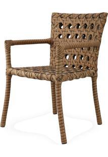 Cadeira Lone Com Bracos Estrutura Aluminio Revestido Em Fibra Sintetica Cor Madeira - 44542 - Sun House