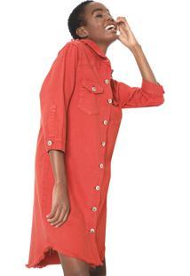 Vestido Sarja Chemise Cantão Curto Destroyed Vermelho