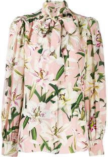 Dolce & Gabbana Blusa Floral Com Amarração Na Gola - Rosa