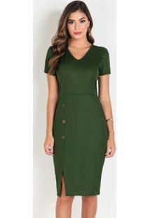 Vestido Verde Militar Moda Evangélica Com Botões