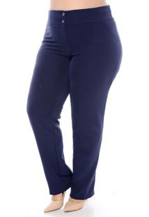 Calça Social Azul Alfaiataria Plus Size