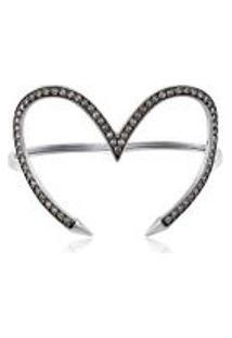 Anel Duplo Heart Ob Com Diamante Chocolate - 17