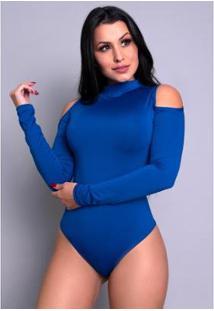 Body Mvb Modas Feminino Manga Longa Gola Alta Ombro - Feminino-Azul