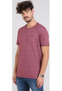 Camiseta Masculina Flamê Com Bolso Manga Curta Gola Careca Vinho