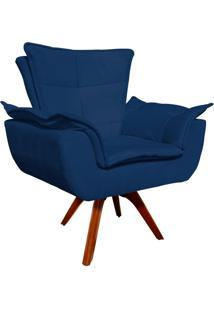 Poltrona Decorativa Giratória Gran Opala Base Madeira Suede Azul Marinho - D'Rossi