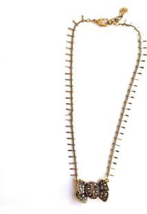 Colar Armazem Rr Bijoux Cristal Swarovski Laço Dourado - Tricae