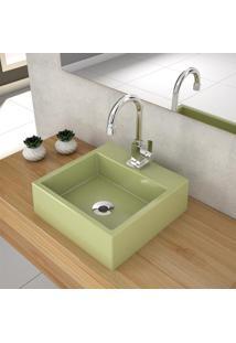 Cuba De Apoio Para Banheiro Compace Q355W Quadrada Verde Acqua