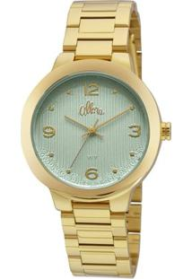Relógio Allora Feminino Listras E Rendas - Feminino-Dourado