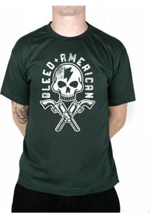 Camiseta Bleed American Skull Gun Musgo.