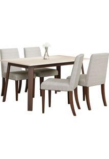 Conjunto De Mesa C/ 4 Cadeiras Rússia - Volttoni - Castanho / Of White