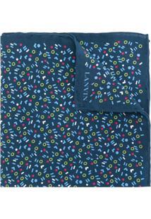 Lanvin Cachecol De Seda Com Padronagem - Azul