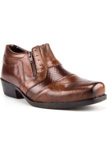 Sapato Masculino Valença Country Recorte Com Textura Couro Pinhão