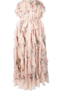 Zimmermann Vestido Midi Floral - Rosa
