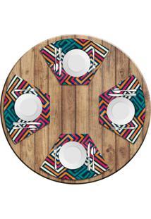 Jogo Americano Para Mesa Redonda Wevans Linhas Abstratas Kit Com 4 Pã§S Love Decor - Multicolorido - Dafiti