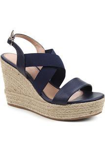 Sandália Plataforma Shoestock Elástico Corda Feminina - Feminino-Marinho