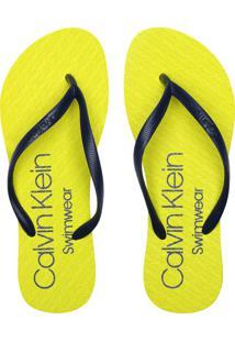 Chinelo Calvin Klein Neon Logo Amarelo