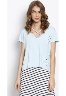 Blusa Destroyed- Azul Claro- Blessbless