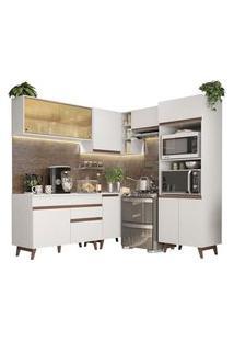 Cozinha Completa De Canto Madesa Reims 402002 Com Armário E Balcão Branco Cor:Branco