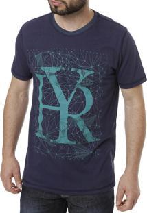 Camiseta Manga Curta Hury Dupla Face Estampa Azul-Marinho