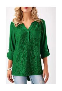 Camisa Feminina Detalhe Em Renda Frontal Manga Longa - Verde