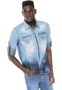 Camisa Jeans Zune Reta Destroyed Azul